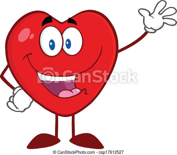 Corazón feliz agitando para saludar - csp17612527
