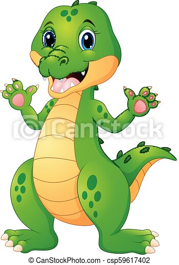 Gracioso dibujo de cocodrilo agitando la mano - csp59617402