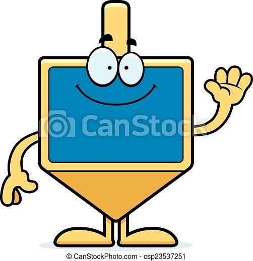 Cartoon dreidel saludando - csp23537251