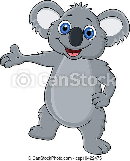 Feliz Koala de dibujos agitando la mano - csp10422475