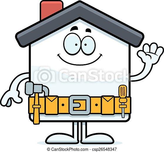 La mejora de la casa de los dibujos animados agitando - csp26548347