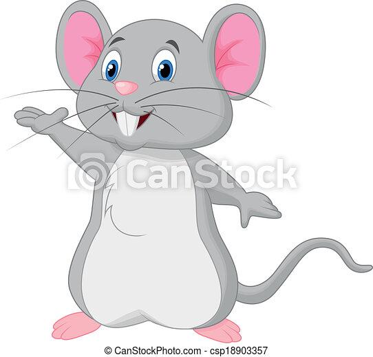 Lindo dibujo de ratón ondeando - csp18903357