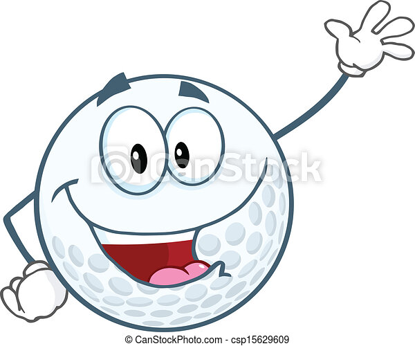 Feliz pelota de golf saludando - csp15629609