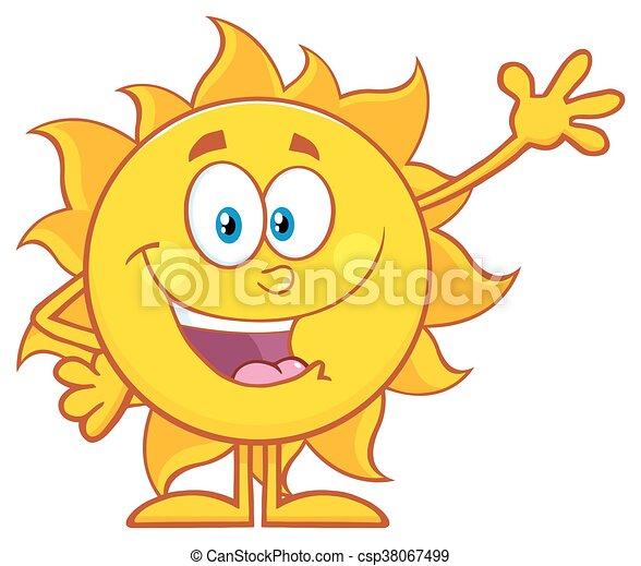 Feliz sol saludando para saludar - csp38067499
