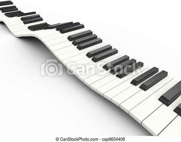 ondulado, 3d, teclado - csp9654408