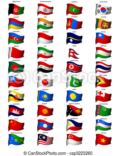 Wavy banderas asia - csp3223260