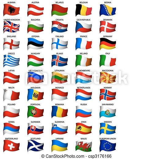 ondulado, conjunto, banderas, europeo - csp3176166