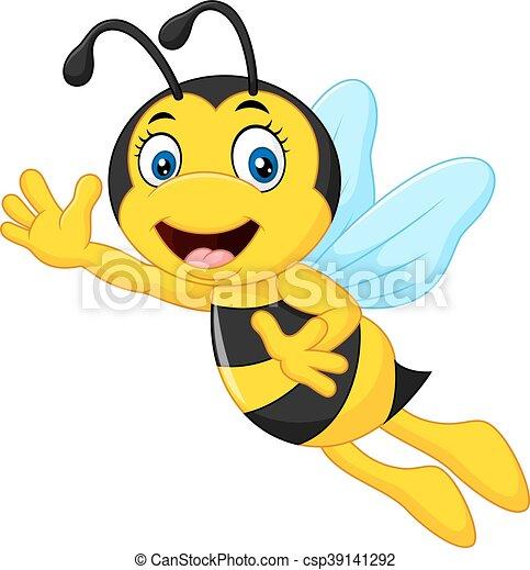 Favori Clipart Vecteur de onduler, rigolote, dessin animé, abeille  FO46
