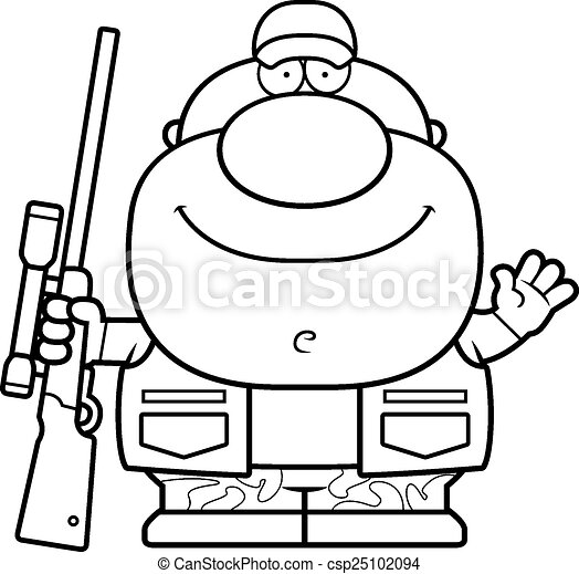 onduler, chasseur, dessin animé - csp25102094