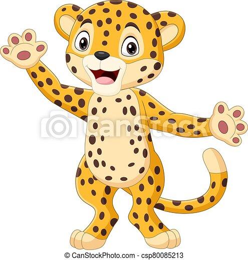 Onduler Mignon Leopard Dessin Anime Main Onduler Mignon Vecteur Illustration Leopard Dessin Anime Main