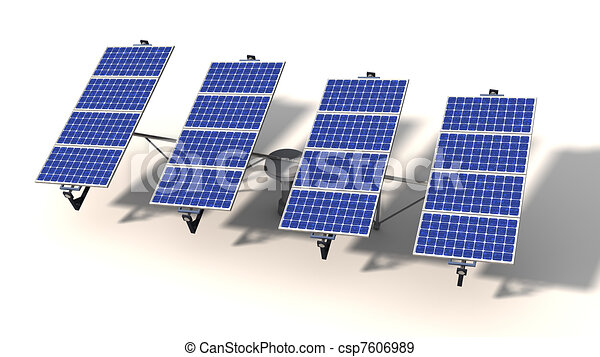 One articulated solar panel module in morning - csp7606989