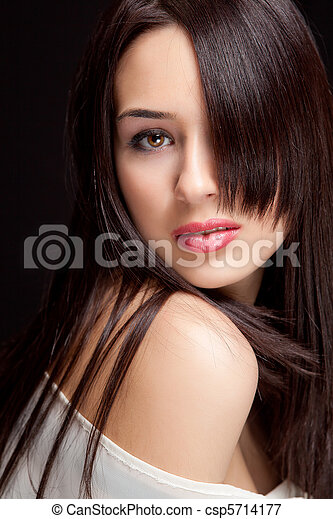 One beautiful woman with sensual hairstyle - csp5714177