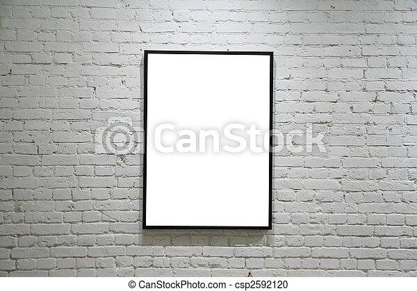 one black frame on white brick wall - csp2592120