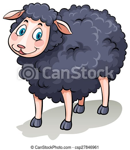one black sheep one cute black sheep on a white background clip art rh canstockphoto com free black sheep clipart free black sheep clipart