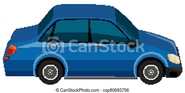 One blue car on white background - csp80693756