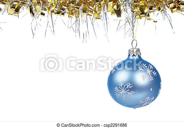 One blue Christmas ball dangling - csp2291686
