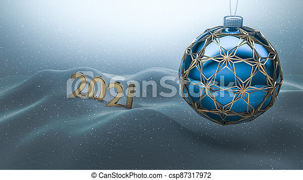 One blue christmas ball enclosed with gold ornaments hanging over snow ground. Year number 2021 made of gold standing on the snow in the background.  Happy new year 2021, merry christmas card. - csp87317972