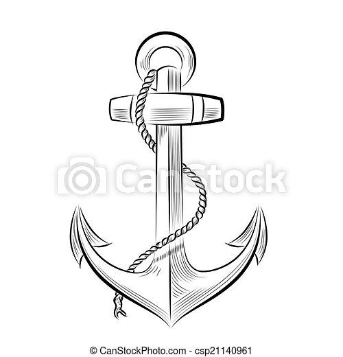 One color ancre dessin anchor vecteur dessin illustration one color - Dessin ancre bateau ...
