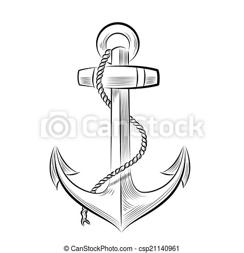 One color ancre dessin anchor vecteur dessin illustration one color - Ancre de bateau dessin ...