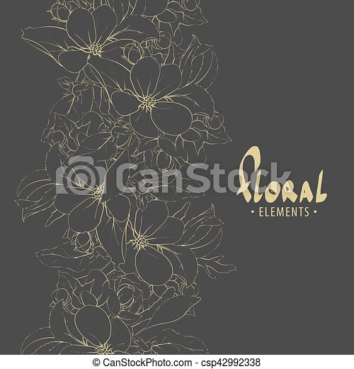 One Color Flowers Of Apple Trees On A Dark Background Vector