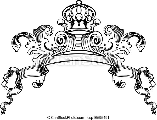 One Color Royal Crown Vintage Curves Banner - csp16595491