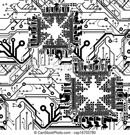 One color vector printed circuit board pattern vector - Search Clip ...