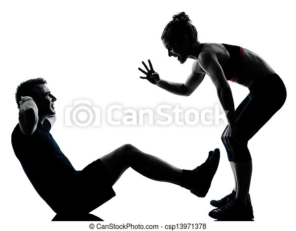 one couple man woman exercising workout fitness - csp13971378