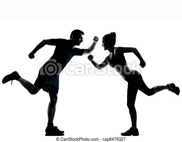 one couple man woman exercising workout fitness - csp8479327