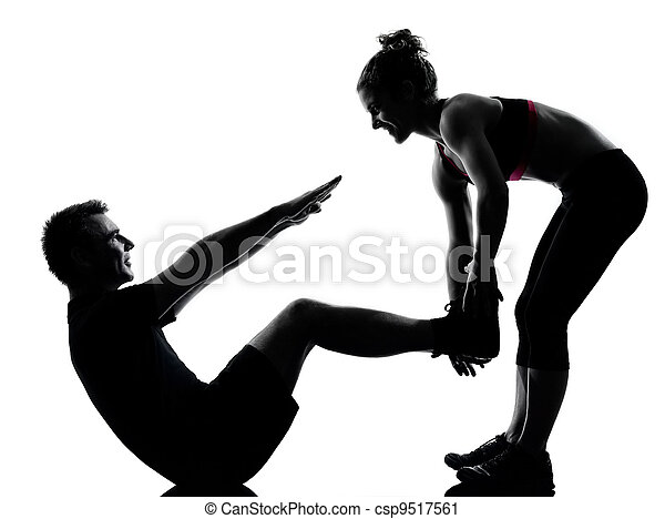 one couple man woman exercising workout fitness - csp9517561