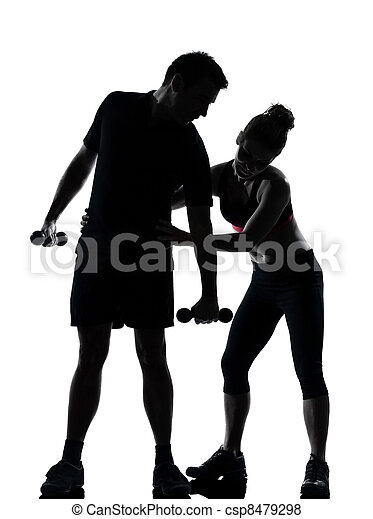 one couple man woman exercising workout fitness - csp8479298