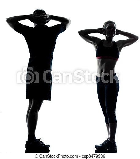 one couple man woman exercising workout fitness - csp8479336
