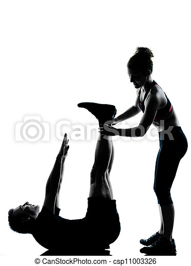 one couple man woman exercising workout fitness - csp11003326