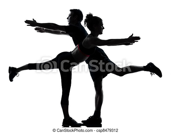 one couple man woman exercising workout fitness - csp8479312