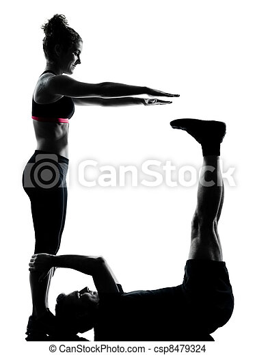 one couple man woman exercising workout fitness - csp8479324