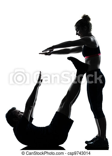 one couple man woman exercising workout fitness - csp9743014