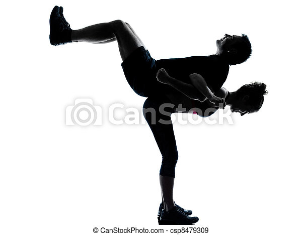 one couple man woman exercising workout fitness - csp8479309