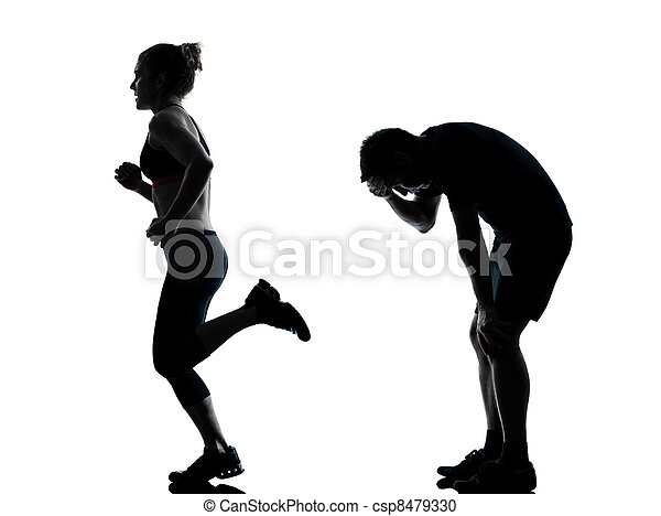 one couple man woman exercising workout fitness - csp8479330