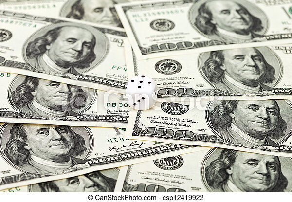 One dice on money background - business concept - csp12419922