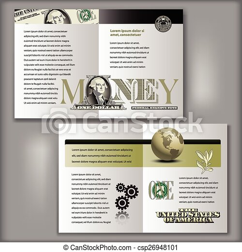 One Dollar Bill Brochure Template Four Page Brochure Layout - Four page brochure template