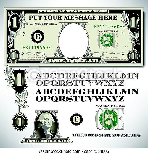 One dollar bill parts with an alphabet - csp47584806