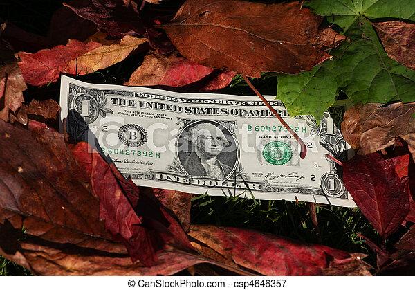 One dollar bills on a leaf background - csp4646357