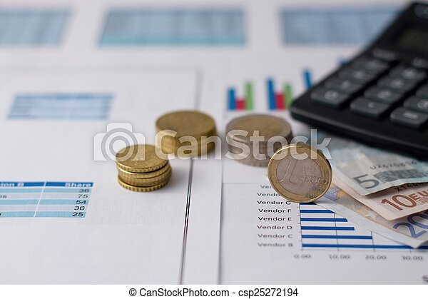 One euro coin on paper sheets with charts - csp25272194