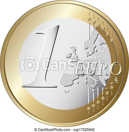 one euro coin vector illustration - csp17025942