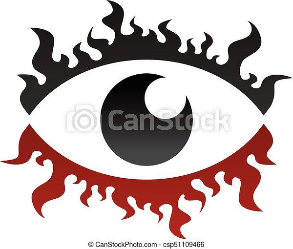 One Eye Look Watch Fire Burn Theme Vector Clip Art Vector Search