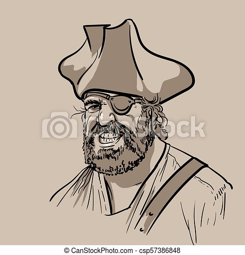 f95a63b787c One-eyed pirate with hat. portrait. digital sketch hand drawing vector.  illustration.