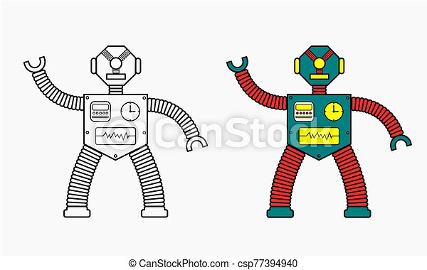 One Eyed Robot Coloring Book This Is A Picture Of One Eyed Robot Can Be Used For Coloring Book Or Page Really Simple And