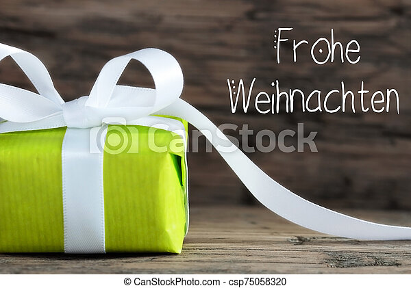 One Green Gift, Bow, Frohe Weihnachten Means Merry Christmas - csp75058320