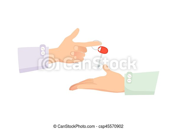 One Hand Giving Key to Another. Process of Buying - csp45570902