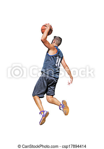one-handed dunk on white - csp17894414