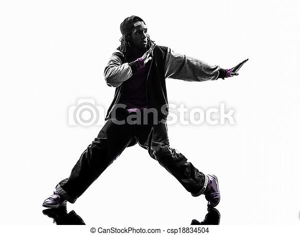 41752b13e one hip hop acrobatic break dancer breakdancing young man silhouette white  background - csp18834504